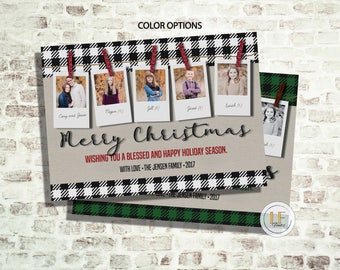 Buffalo Plaid Polaroid Photo Card (24 HOUR or LESS TURNAROUND)