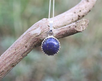 Lapis Lazuli Gemstone Pendant Necklace, sterling silver