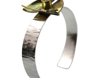 "Well being silver and brass ""smell"" cuff"
