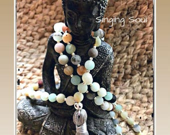 Amazonite Mala, 108 beads, Mala Bracelet, Reiki, Rosary, Prayer beads, tassel mala, meditation mala, yoga jewelry, meditation jewelry