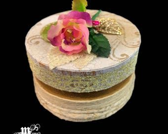 "Vintage Scrolls and Hemp Wrapped Paper Mache Jewelry Box, 3.5"" x 2"", Scrolls, Vintage, Cording, Glitter, Shiny, Pink Rose, Paint, Glitzy"