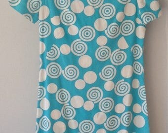 1970s Vintage Simple Shift Dress with Circles