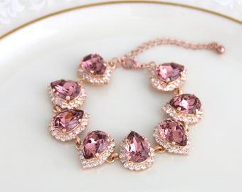 Rose Gold bracelet, Bridal bracelet, Blush crystal bracelet, Wedding jewelry, Statement bracelet, Bridesmaid bracelet, Swarovski bracelet