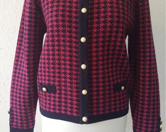 1990s St Michael cardigan•vintage cardigan•pink cardigan•houndstooth•checkered cardigan•ladies cardigan•womens cardigan•UK 8/10•US 6/8