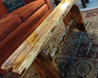 Aged Medieval Rustic Bench Reclaimed Wood Burnt Torched Finish Relic Entryway