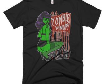 Zombie Bombshell Pinup / Retro, Rockabilly, Horror / Washed Style Print / Short-Sleeve Unisex Graphic TShirt