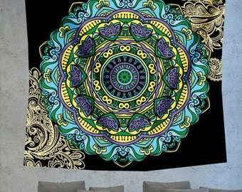 Turquoise Mandala tapestry, hippie tapestry, bohemian tapestry, boho wall decor hanging, bohemian wall decor, psychedelic tapestry