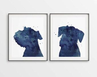 Schnauzer Prints, Set of 2 Prints, Watercolor Schnauzer, Schnauzers Art, Large Wall Décor, Navy Blue, Set of Schnauzers, Nursery Décor, Gift