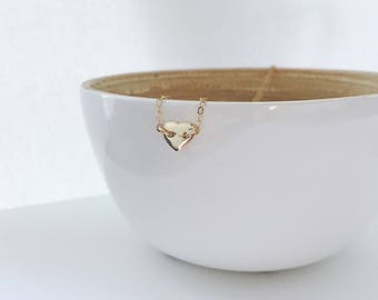 Tiny gold Heart necklace 14K Gold filled Bridesmaid gift Gift for Mother Daughter Gift Love necklace Minimalist Necklace Layering necklace