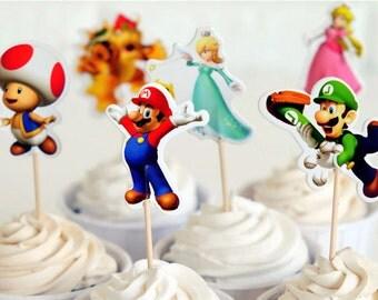 24 pcs/set Super Mario Bros Cupcake Toppers/Birthday Decorations/Cake Decorations