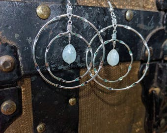 Double Hoop Earrings with Blue Calcite