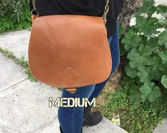 Saddle purse, Tobacco saddle bag, Tobacco leather bag, Leather saddle bag, Saddle messanger bag, Boho bag, Nyx tobacco medium