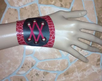 bohemian punk goth bracelet Hippie bracelet leather bracelet Hippie wristband Lace wrist cuff