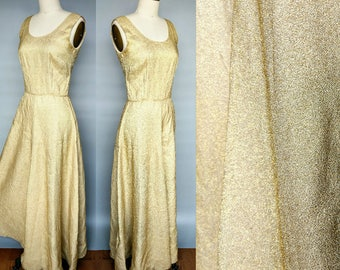 stardust / 1970s metallic gold lame maxi dress / formal gown / 6 8 small