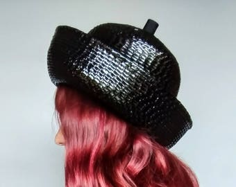 oil slick / 1960s shiny black textured bumper hat by leslie james for lord & taylor