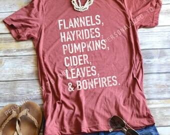 FALL Design t-shirt - Flannels Hayrides Pumpkins Cider Leaves Bonfires