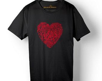 Heart Shirt - Fingerprint - Love T-shirt - Peace Shirt - Animal Rights Tee - Heart Graphic Tee