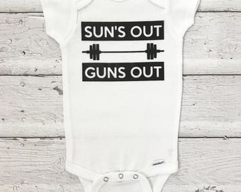 Funny Onesie, Baby Boy Onesie, Suns Out Guns Out, Boys Suns Out Guns Out, Baby Gift, Baby Shower Gift