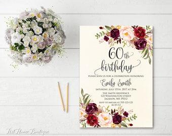 60th Birthday Invitation, Any Age Women Birthday Invitation, Floral Ivory Birthday Invitation, Boho Birthday Invite, #BW41-60