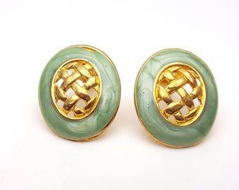 Vintage Clip on 60s Earrings Mint Green Enamel on Gold Tone Metal Oval Weaved Geometric Modernist Mod Retro Classic Feminine Statement