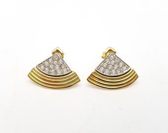 Vintage Fan Shaped Rhinestone Frame Pierced Earrings Gold Tone Metal Stud Geometric Mod Retro Classic Feminine Statement