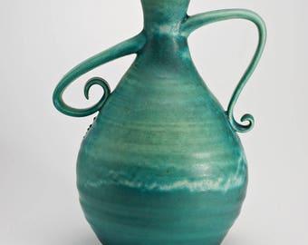 Hand Thrown Stoneware Aqua Blue Vase