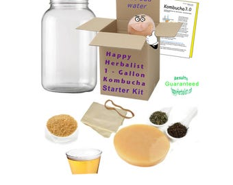 Complete Kombucha Starter Kit includes One Gallon Jar and Brewing Guide