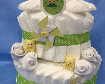 """Twins """"Two Peas in a Pod"""" Two Tier Diaper Cake for Gender Unknown/Neutral!  Gift Wrapped in Cellophane and a Bow!"""