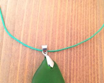 Green sea glass necklace, green sea glass pendant, green jewelry, handmade jewelry, unique necklace, nautical jewelry, green sea glass