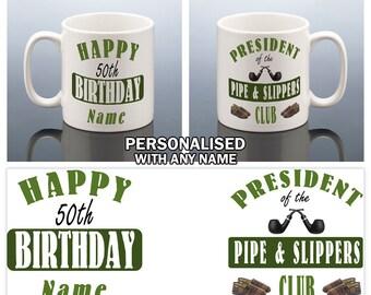 50th Birthday Mug for Him / 50th Personalised Birthday Gift for Men Pipe 50 BIRTHDAY Cup 1968 Male Birthday Present Dad Grandad Uncle Friend
