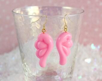 Kawaii Fairy Kei Puffy Pastel Pink Wing Earrings