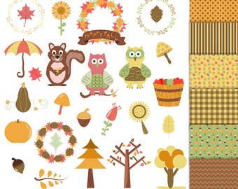 Fall Clipart and Digital Papers Set, Autumn Clipart, Thanksgiving Clipart, Fall Wreaths Clipart, Autumn Digital Papers, Fall Commercial Use