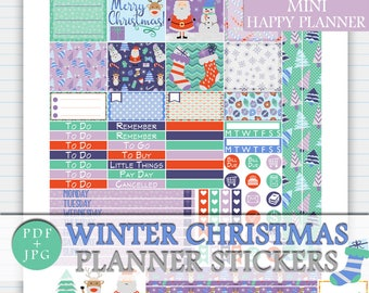 Winter Christmas MINI Happy Planner Stickers, Christmas Printable Weekly Kit, MINI Planner January Sticker Kit, Digital Christmas Stickers