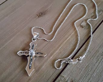 Small Cross Pendant with Cultured Pearl. Beaded Chain included. Gift for her