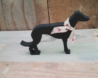 Hand Painted Wooden Greyhound Whippet Lurcher, Ornament, Decoration, Greyhound Whippet Lurcher Gift, dog ornament, handpainted dog