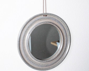 handmade ceramic mirror with leather cord, circle mirror, mirror, round mirror, turquoise mirror, ceramic mirror