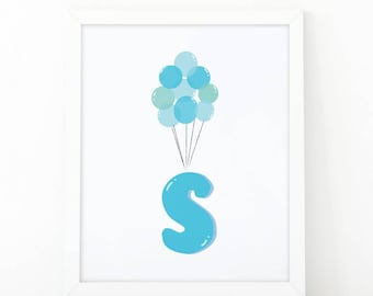 Initial s, S letter Balloons, baby Blue Balloons, initial Printable, Letter Nursery, Nursery Initial Print, Blue Initial Balloons, Up Disney