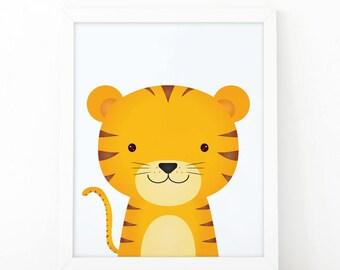 Tiger Print, kids wall Art Print, Instant download, Nursery print, Nursery Decor, animal printable, Animal Nursery Printable, illustration