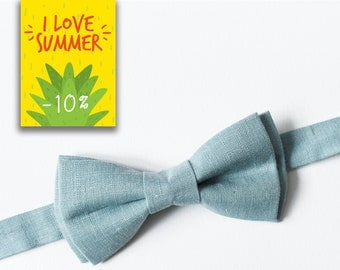 Light Blue Linen Bow tie for men Wedding Bow tie Groomsmen bow tie Toddler bow tie Birthdy gift Boyfriend gift Boys bow tie Ring bearer