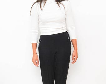vintage black trousers | 80s 90s pants | tapered elastic foot band | pleated trousers | casual high waist pants | size small medium
