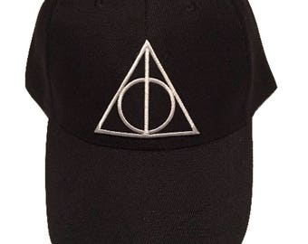 Harry Potter Deathly Hallows Embroidered Patch Black Baseball Cap Unisex Hogwarts Dad Hat