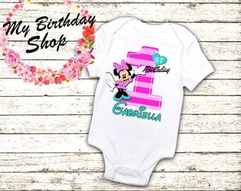 Minnie Mouse 1st Birthday Outfit,  One Piece, 1st, 2nd, 3rd, 4th, 5th Birthday Shirt / Birthday Girl Shirt, Minnie Birthday Outfit, Minnie 1