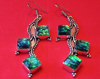 Blue and Green Dichroic Glass Earrings !