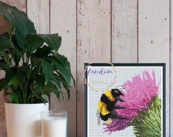 Bumblebee on Thistle Cross Stitch PDF Pattern | Bee Cross Stitch Pattern | Blackwork Backstitching Insect Scottish Cross Stitch Pattern