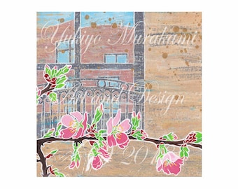 Cherry blossom and Window /Illustration/easy download