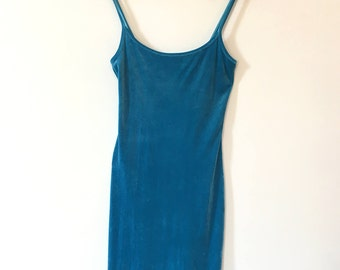 Vintage Turquoise Velvet Dress Size S