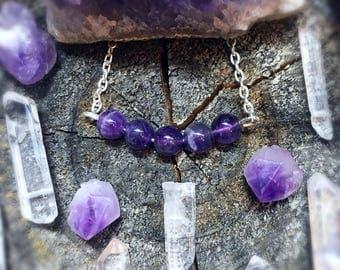 Amethyst Bar Crystal Necklace