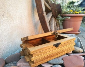 Wood centerpiece box/ Wooden herb box/ Table decor box/ Wood tea storage box/ Tea bag organizer box