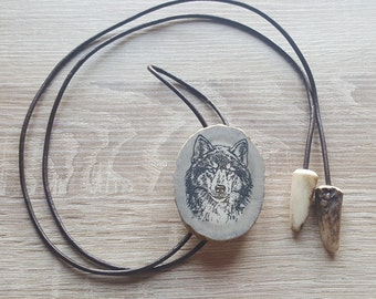 Wolf Necklace Wolf Jewelry Wolf Accessories Mens Bolo Tie Wolf Pendant Western Necklace Cowboy Necklace Best Necklace Gift Bolo Necklace