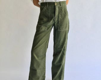 Vintage 30 Waist 70s OG 107 Army Pants | Vietnam Utility Fatigue Pant | High Rise High Waist Cotton Military Trouser